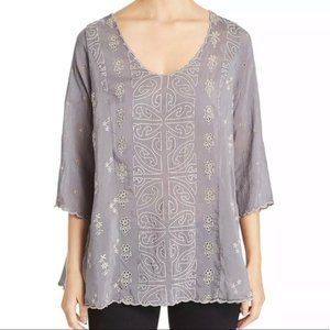 Johnny Was Ridden Embroidered Trim Blouse Shirt S